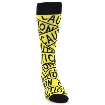 Image of Yellow Black Caution Tape Men's Dress Socks (side-1-front-03)