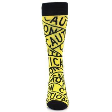 Image of Yellow Black Caution Tape Men's Dress Socks (front-04)