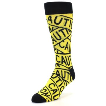 Image of Yellow Black Caution Tape Men's Dress Socks (side-2-front-07)