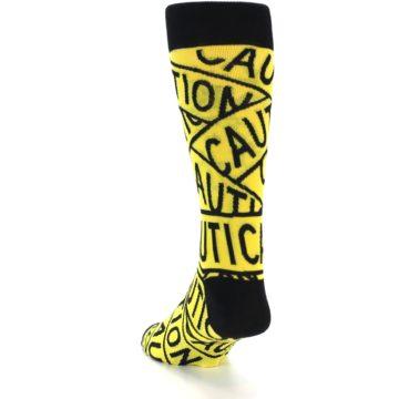 Image of Yellow Black Caution Tape Men's Dress Socks (side-2-back-15)