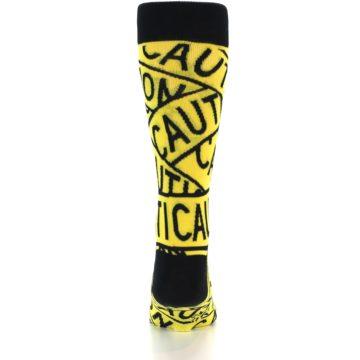 Image of Yellow Black Caution Tape Men's Dress Socks (back-17)