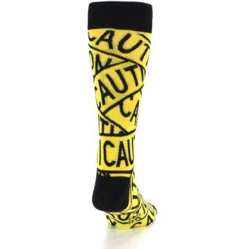 Image of Yellow Black Caution Tape Men's Dress Socks (back-18)
