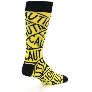 Image of Yellow Black Caution Tape Men's Dress Socks (side-1-back-21)