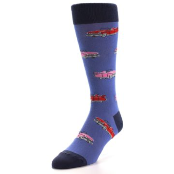 Image of Blue Pink Red Classic Cars Men's Dress Socks (side-2-front-07)