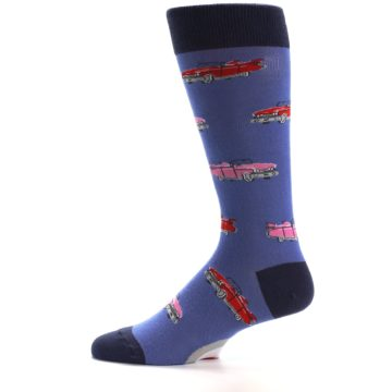 Image of Blue Pink Red Classic Cars Men's Dress Socks (side-2-11)