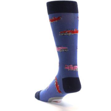 Image of Blue Pink Red Classic Cars Men's Dress Socks (side-2-back-14)