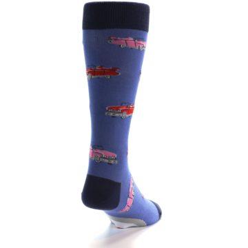 Image of Blue Pink Red Classic Cars Men's Dress Socks (back-19)
