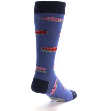 Image of Blue Pink Red Classic Cars Men's Dress Socks (side-1-back-20)