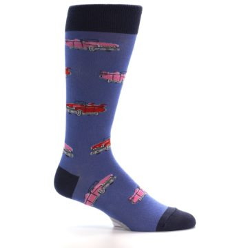 Image of Blue Pink Red Classic Cars Men's Dress Socks (side-1-24)