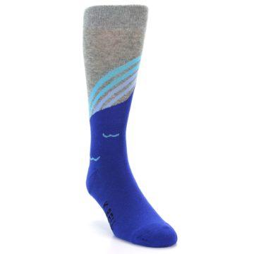 Image of Grey Blue Surfer Men's Dress Socks (side-1-front-02)