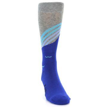 Image of Grey Blue Surfer Men's Dress Socks (side-1-front-03)
