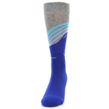 Image of Grey Blue Surfer Men's Dress Socks (front-05)