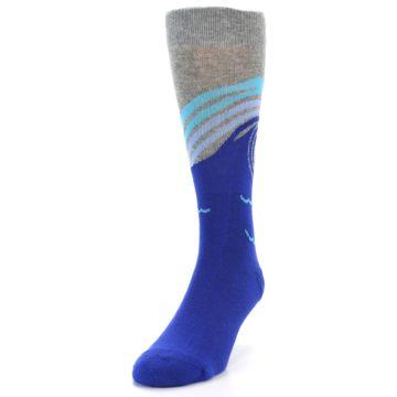 Image of Grey Blue Surfer Men's Dress Socks (side-2-front-06)