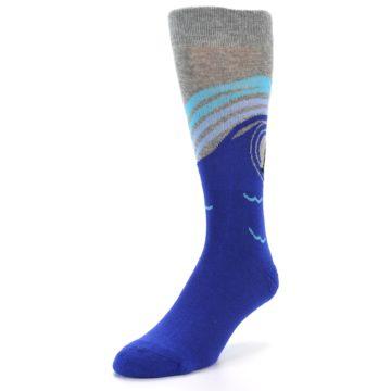Image of Grey Blue Surfer Men's Dress Socks (side-2-front-07)