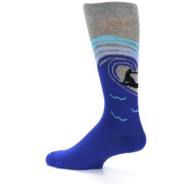 Image of Grey Blue Surfer Men's Dress Socks (side-2-12)