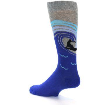 Image of Grey Blue Surfer Men's Dress Socks (side-2-13)