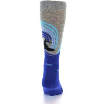 Image of Grey Blue Surfer Men's Dress Socks (back-17)