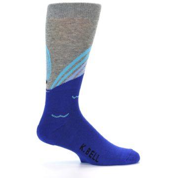 Image of Grey Blue Surfer Men's Dress Socks (side-1-23)