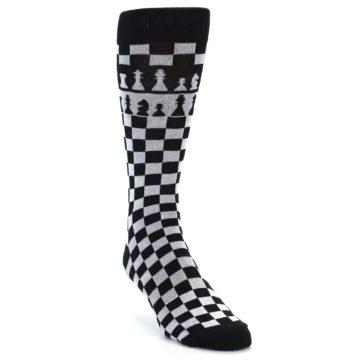 Image of Black White Checkered Chess Men's Dress Socks (side-1-front-02)
