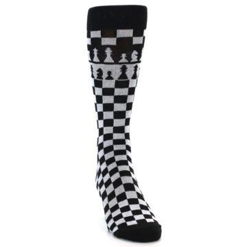 Image of Black White Checkered Chess Men's Dress Socks (side-1-front-03)
