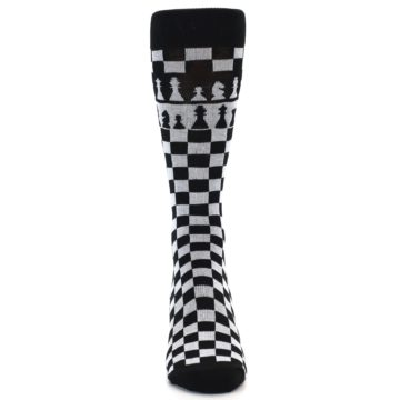 Image of Black White Checkered Chess Men's Dress Socks (front-04)