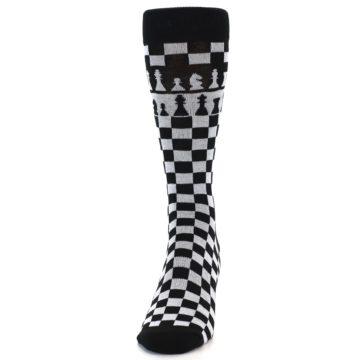 Image of Black White Checkered Chess Men's Dress Socks (front-05)