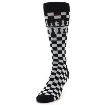 Image of Black White Checkered Chess Men's Dress Socks (side-2-front-06)