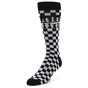 Image of Black White Checkered Chess Men's Dress Socks (side-2-front-07)