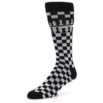 Image of Black White Checkered Chess Men's Dress Socks (side-2-front-08)