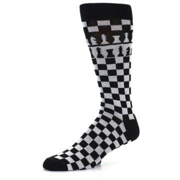 Image of Black White Checkered Chess Men's Dress Socks (side-2-09)