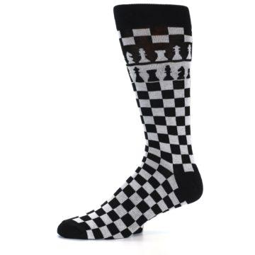 Image of Black White Checkered Chess Men's Dress Socks (side-2-10)