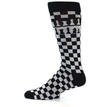 Image of Black White Checkered Chess Men's Dress Socks (side-2-11)