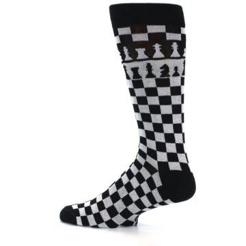 Image of Black White Checkered Chess Men's Dress Socks (side-2-12)