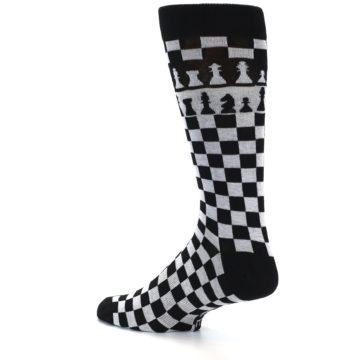Image of Black White Checkered Chess Men's Dress Socks (side-2-13)