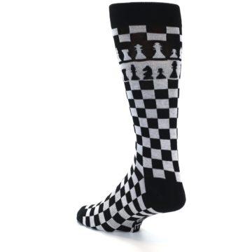 Image of Black White Checkered Chess Men's Dress Socks (side-2-back-14)
