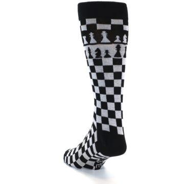 Image of Black White Checkered Chess Men's Dress Socks (side-2-back-15)