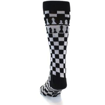 Image of Black White Checkered Chess Men's Dress Socks (side-2-back-16)