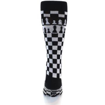 Image of Black White Checkered Chess Men's Dress Socks (back-17)