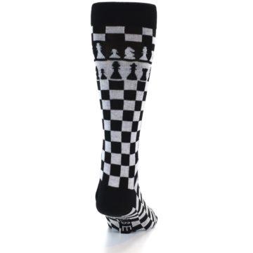 Image of Black White Checkered Chess Men's Dress Socks (back-18)
