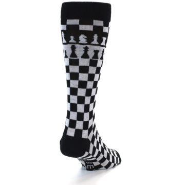 Image of Black White Checkered Chess Men's Dress Socks (back-19)