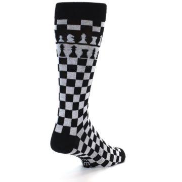 Image of Black White Checkered Chess Men's Dress Socks (side-1-back-20)