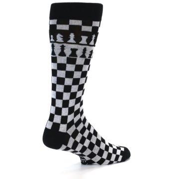 Image of Black White Checkered Chess Men's Dress Socks (side-1-back-21)