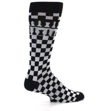 Image of Black White Checkered Chess Men's Dress Socks (side-1-back-22)