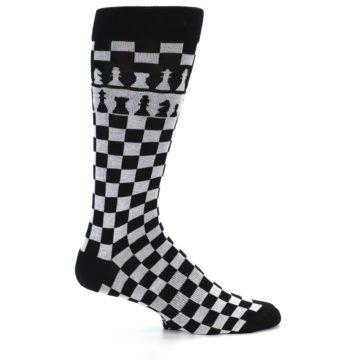 Image of Black White Checkered Chess Men's Dress Socks (side-1-23)