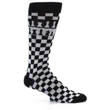 Image of Black White Checkered Chess Men's Dress Socks (side-1-24)