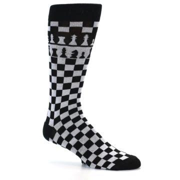 Image of Black White Checkered Chess Men's Dress Socks (side-1-25)