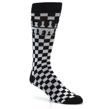 Image of Black White Checkered Chess Men's Dress Socks (side-1-26)
