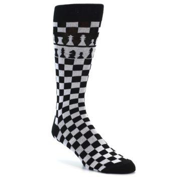 Image of Black White Checkered Chess Men's Dress Socks (side-1-27)