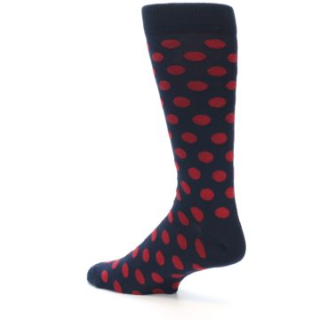 Image of Navy Red Polka Dot Men's Dress Sock (side-2-back-14)