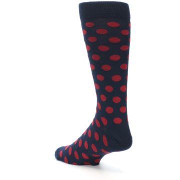 Image of Navy Red Polka Dot Men's Dress Sock (side-2-back-15)
